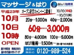 2011年10月オープン記念キャンペーンチラシ表