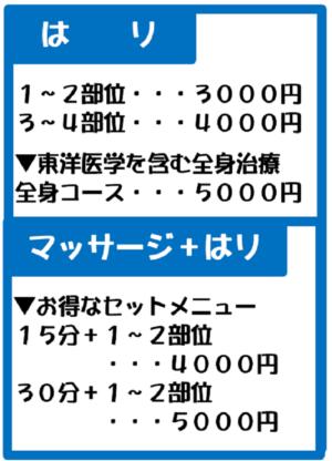 鍼のコース&料金、1から2部位3000円、3から4部位4000円、全身5000円(税込)